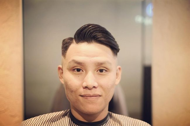 side parted fade haircut