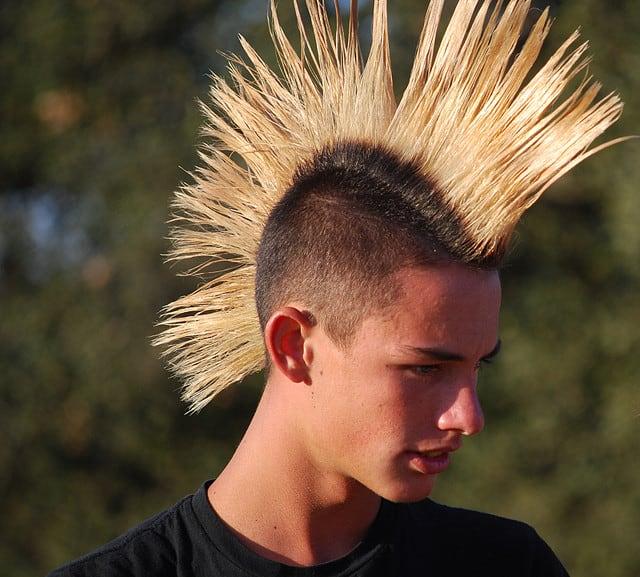 Spiky Blonde Fanned Mohawk