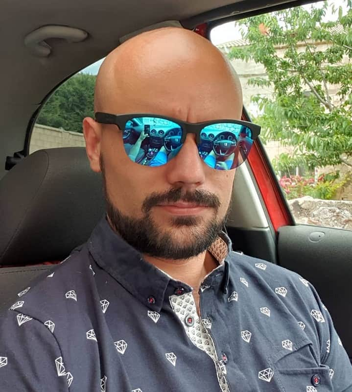 bald head with beard