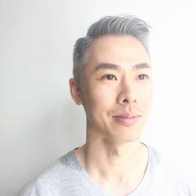 Silver Asian High Pompadour