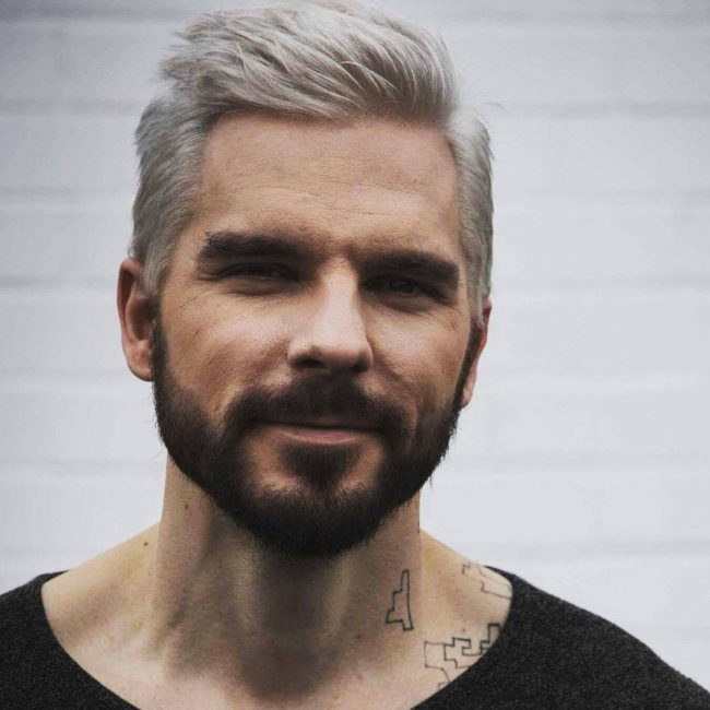 Platinum Blonde Combined with Contrasting Beard