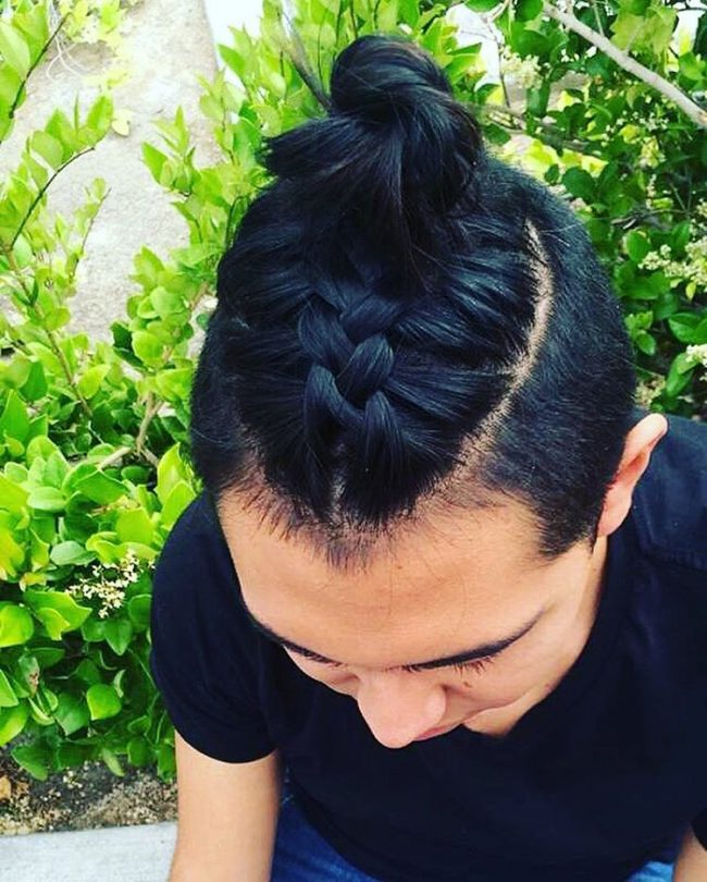 Black Braid with Top Knot