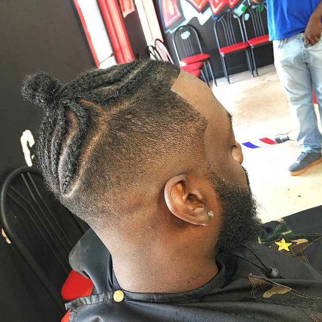 Braided Top Knot with Side Fade