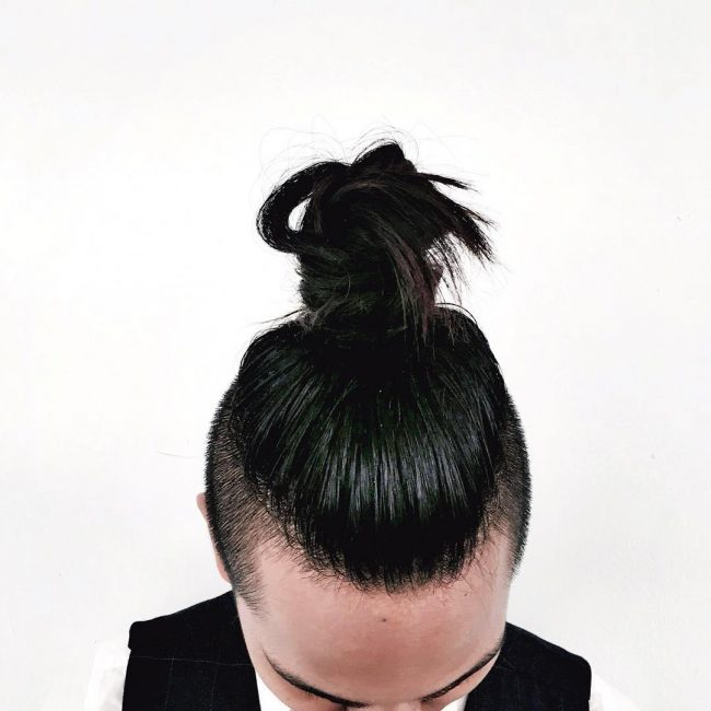 Coal Black Hair with High Top Knot