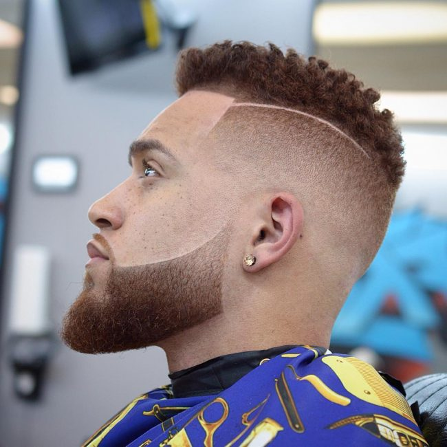 Curly Fade with Side Part