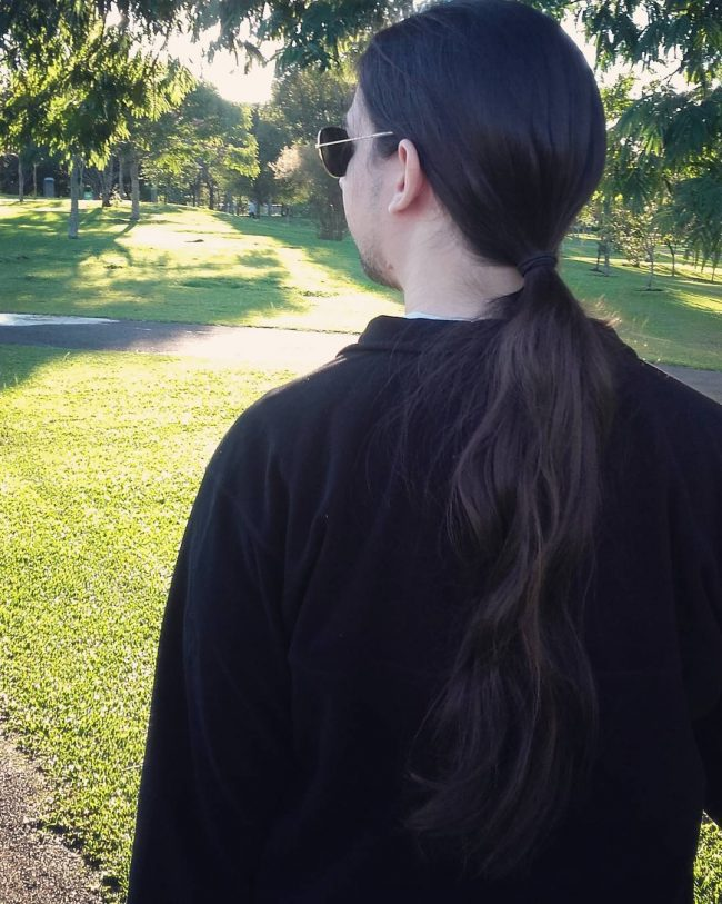 Deep Brown Hair in Low Pony