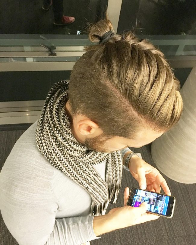 Light Blonde Top Knot and Braid
