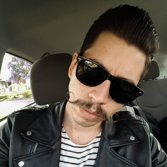Mustache and Pompadour Haircut