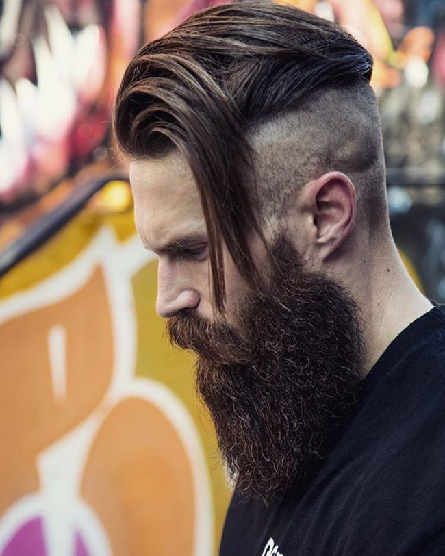 Tight Undercut with Long Brushed Over Fringe