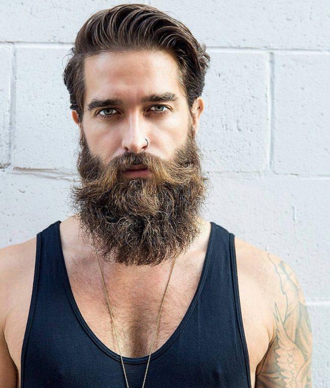 blonde scruffy beard and Man hair with