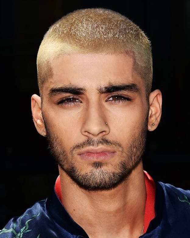 Blonde Buzz Cut with Black Beard