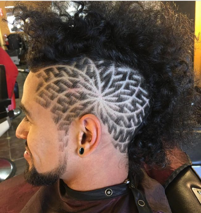 Curly Mohawk with Intricate Patterns