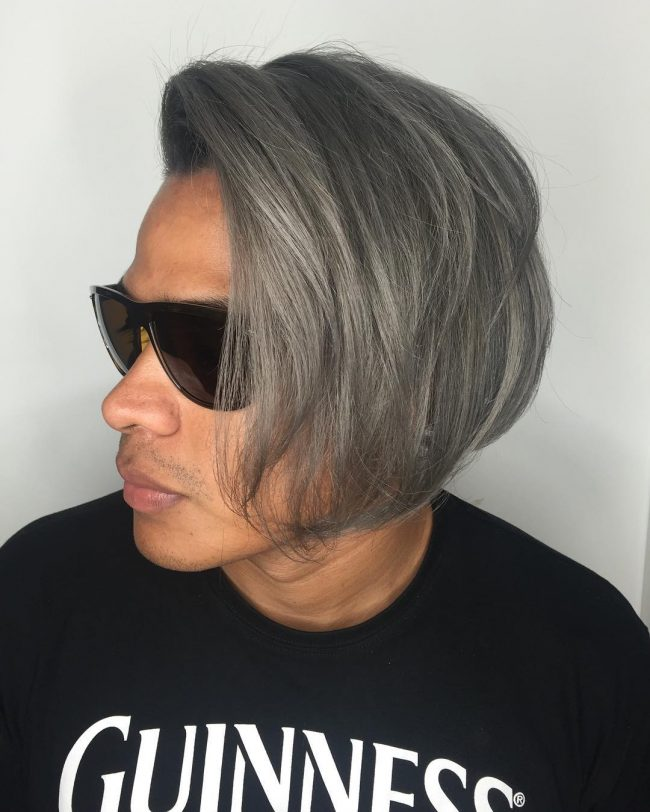 Diagonally Swept Gray Bangs