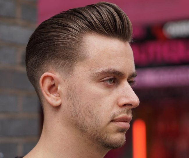 Slicked Back Pomp with High Fade
