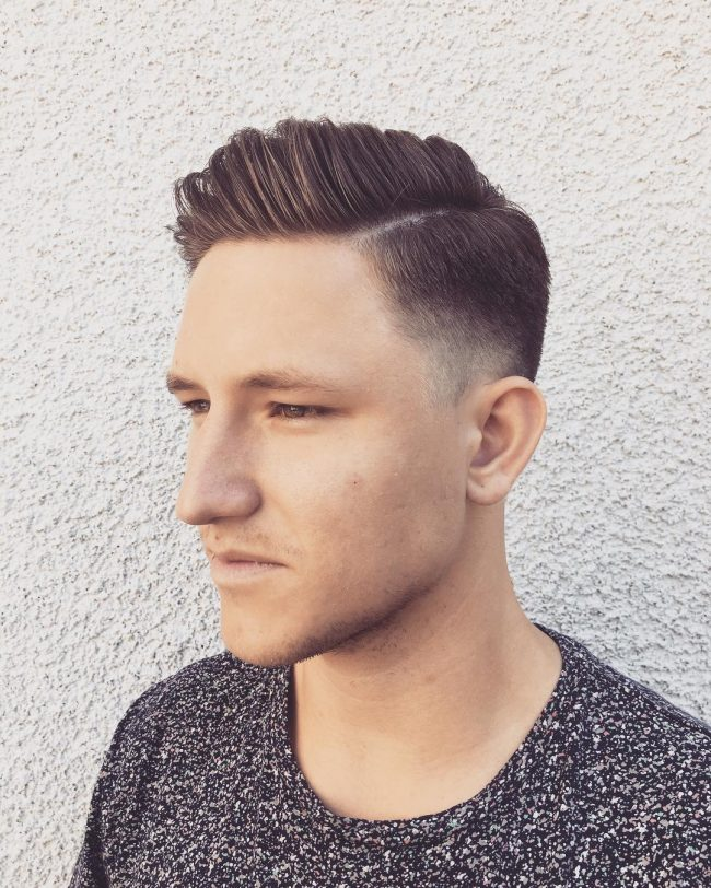 Taper Fade and Side Swept Strands