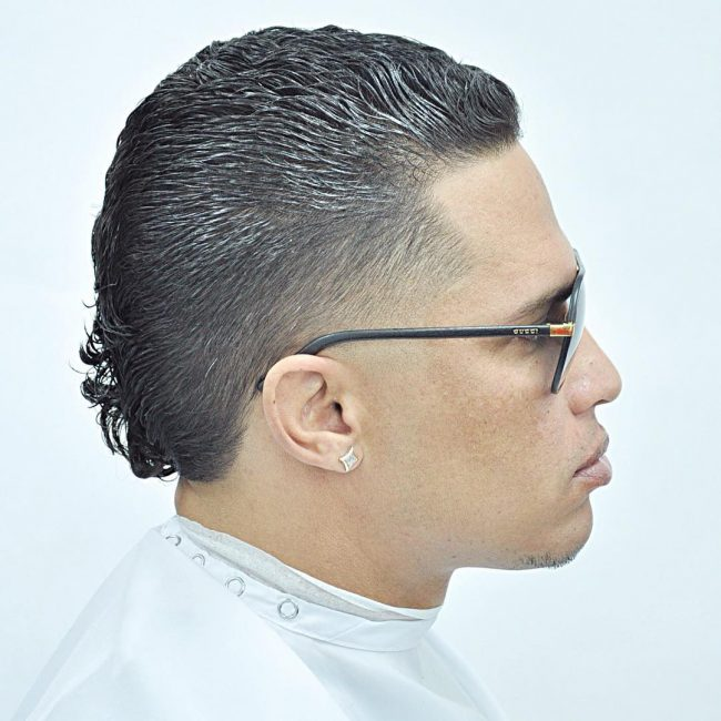 Textured Slicked Back Top with Medium Fade