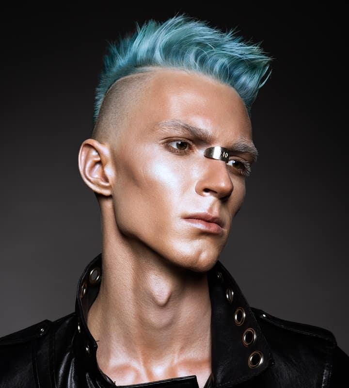 men's blue punk haircut