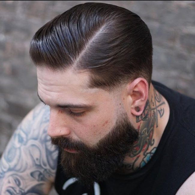 Suave Side Sweep with Groomed Beard