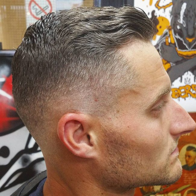 High Fade with Wavy Pomade Top