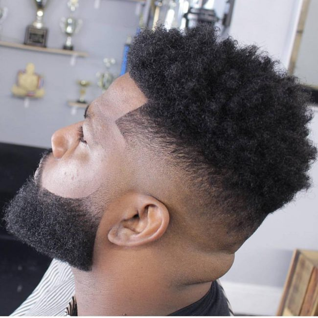 Afro Curls and Bald Fade