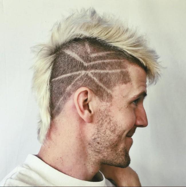 Blonde Hawk with Side Designs