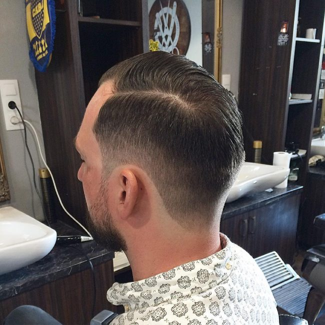 Comb Over with Side Part and Taper Fade