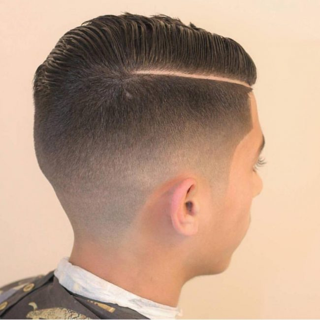 Combover Razor Fade with Parted Top