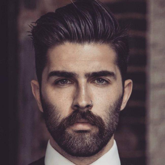 French Mustache and Stylish Medium Stubble
