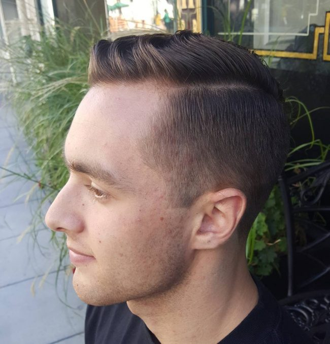 Long Top Combover with Temple Fade
