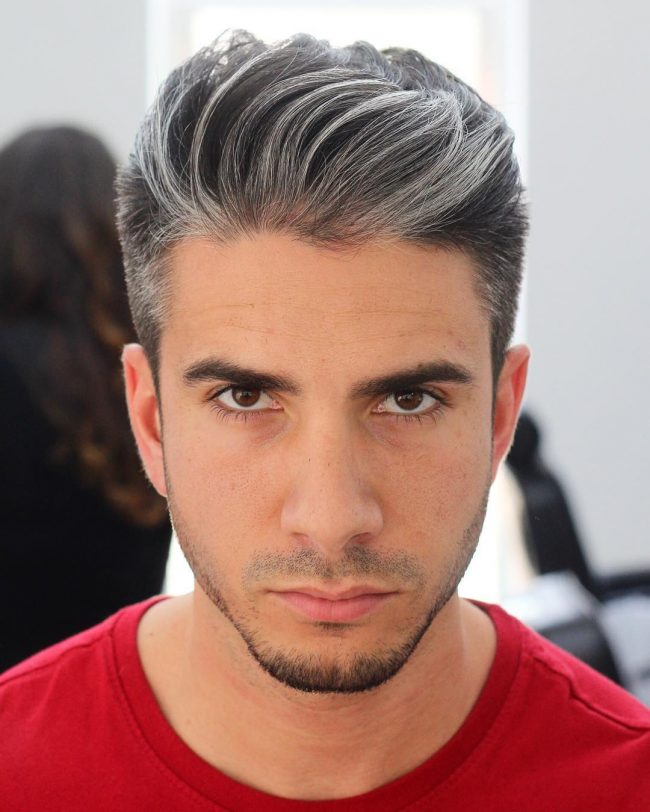 Natural Wavy and Tapered Gray Hair