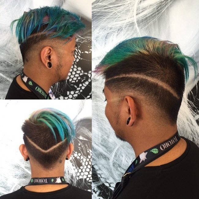 V-Cut with Pink and Green Comb Over Bangs