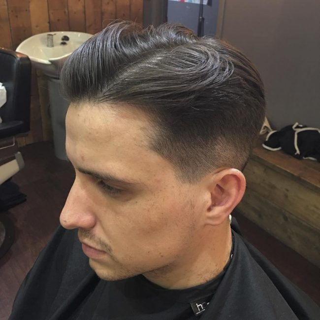 Vintage Combover with Low Fade