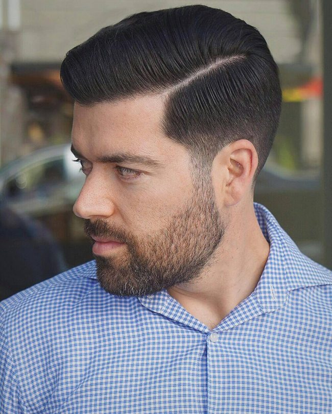 15 Parted and Faded Down Pompadour