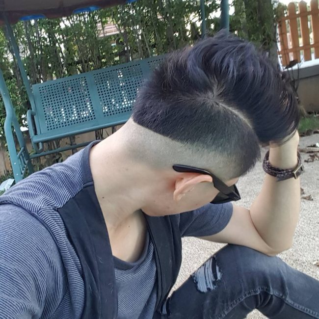 High Quiff with Skin Faded Undercut