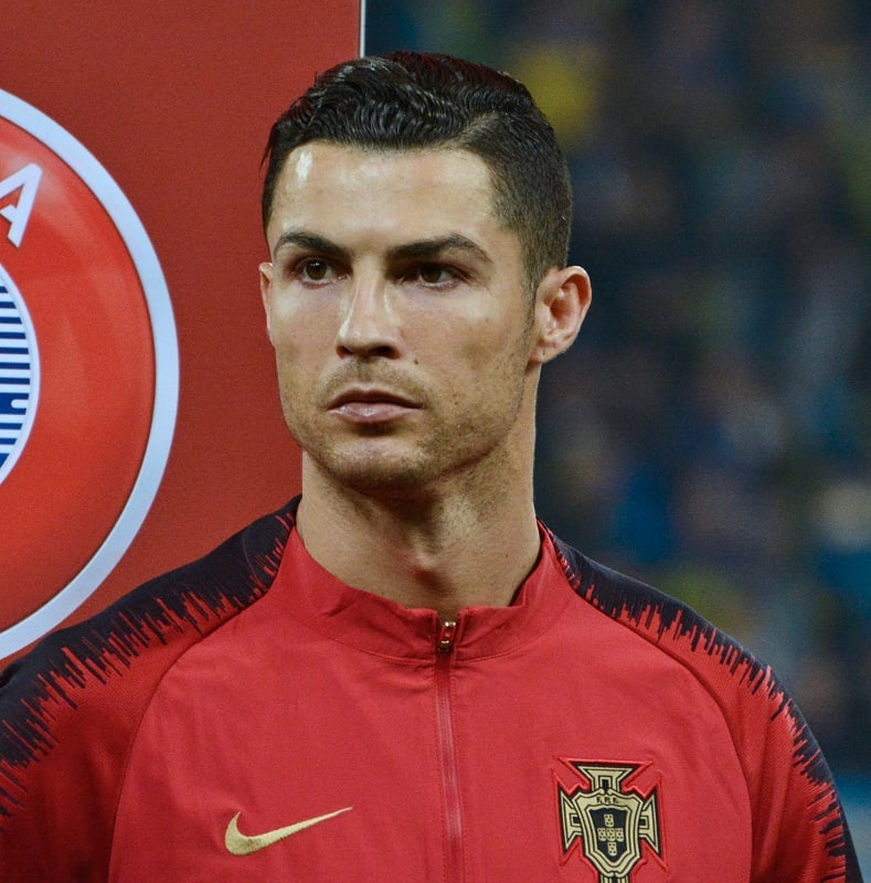 Cristiano Ronaldo's slicked back hairstyle in Euro Qualifying Soccer Match