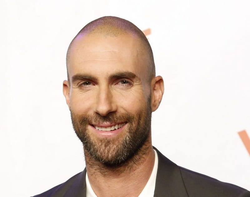 bald hairstyle of adam levine