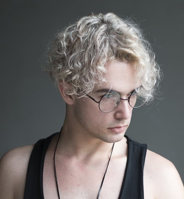 men's bleached curly hair