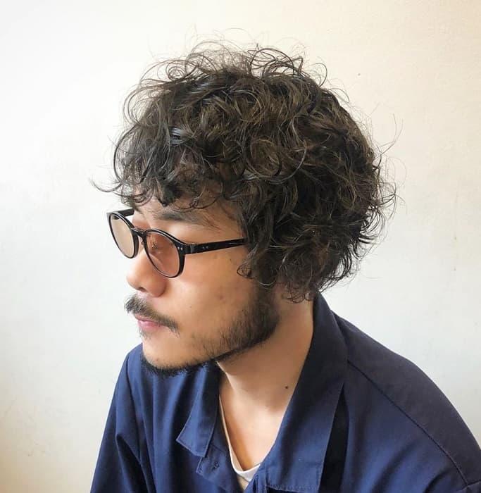 curly bowl cut for men