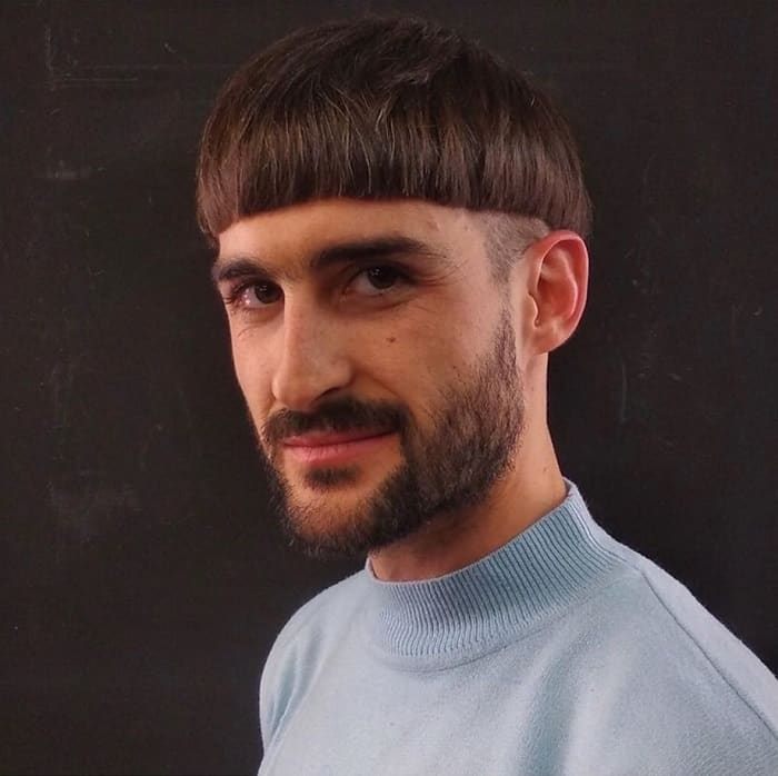 bowl haircut with beard