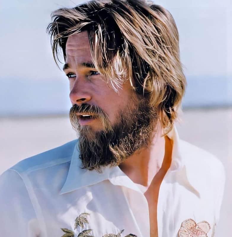 brad pitt hairstyle with beard