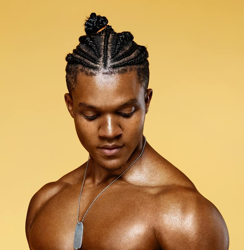 60 Brilliant Braided Buns For Men Double The Style 2020