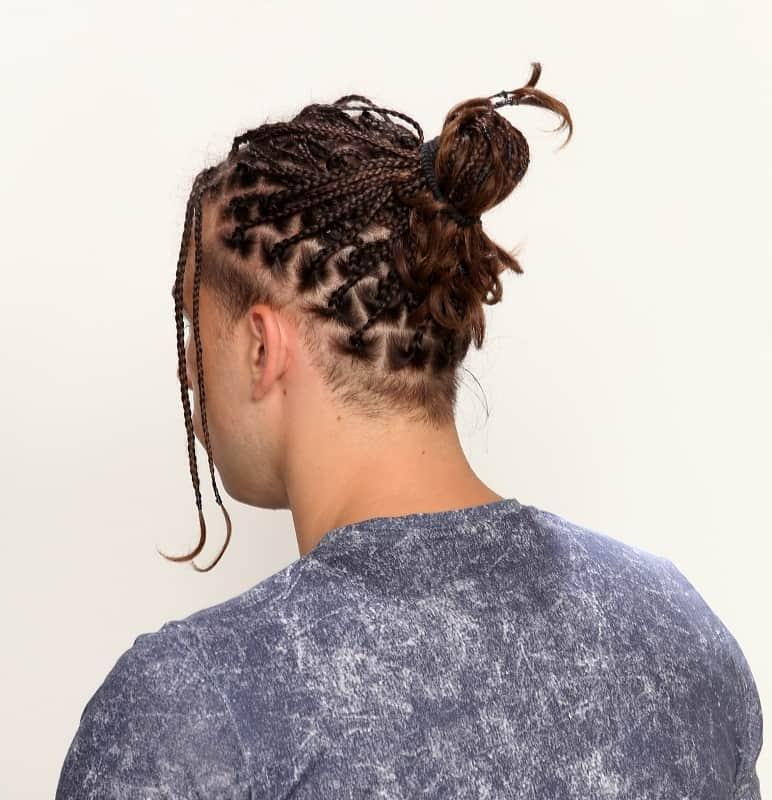 box braided bun for men