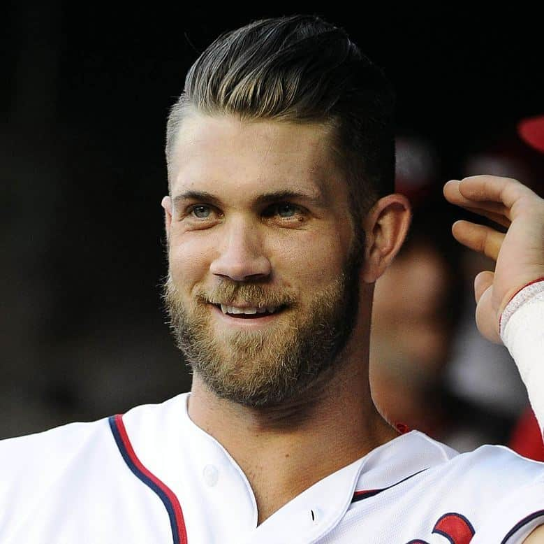 bryce harper with slicked back hair