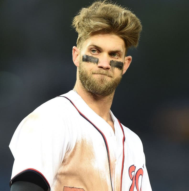 bryce harper with long top haircut