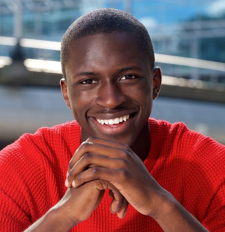 black man with buzz cut