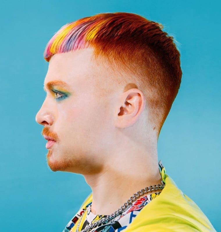 colorful caesar haircut