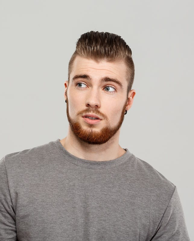 slick back hair with chinstrap beard