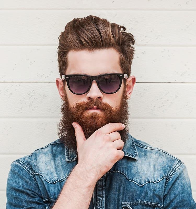 comb over haircut with beard