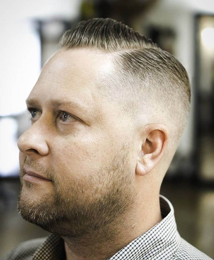 side part haircut for man with fat face