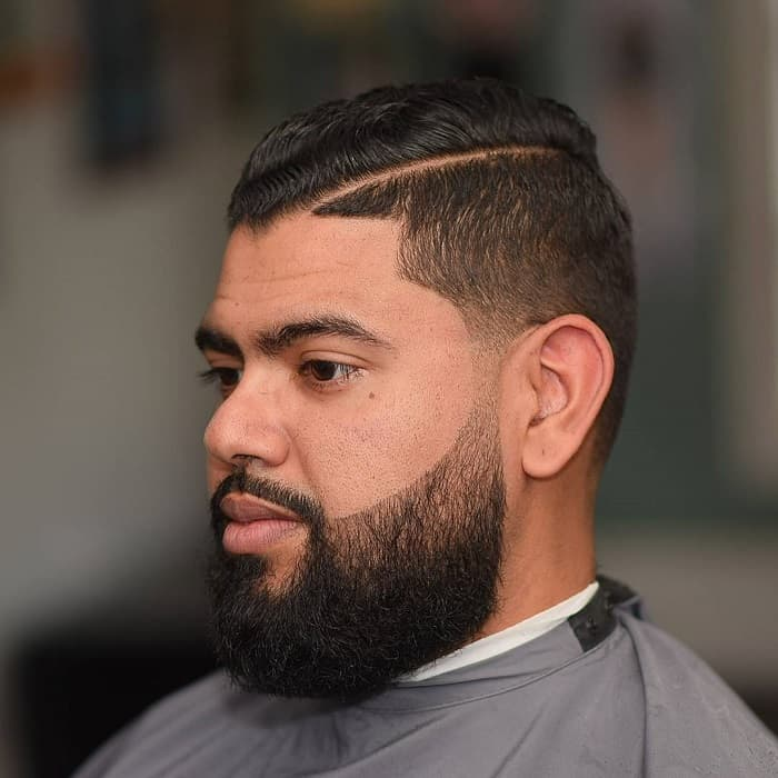 hard part haircut for man with fat face